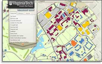 Virginia Tech interactive campus map